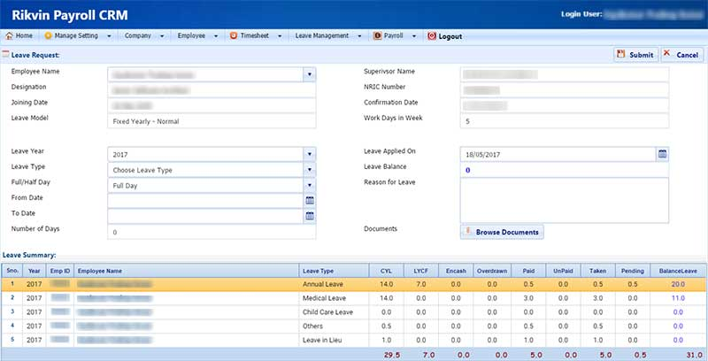 rikvin payroll crm leave request