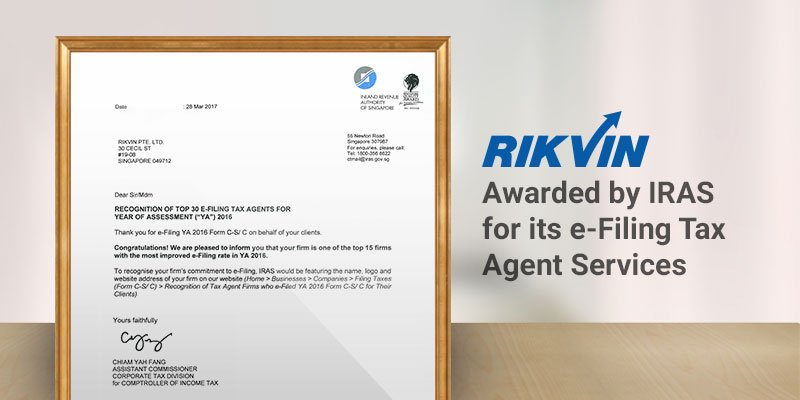 Rikvin Awarded by IRAS for Its E-Filing Tax Agent Services