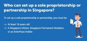 Who can set up a sole proprietorship or partnership in Singapore?