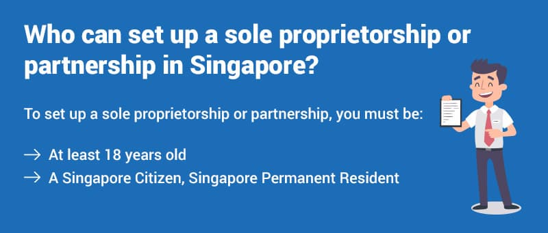 Who can set up a sole proprietorship or partnership in Singapore