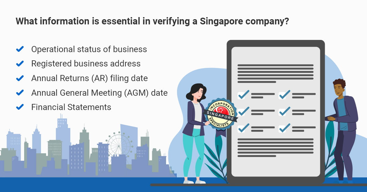 What information is essential in verifying a Singapore company?