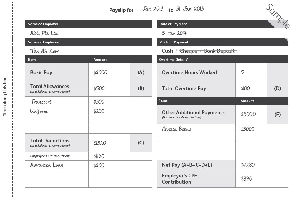 Itemized Payslip Singapore