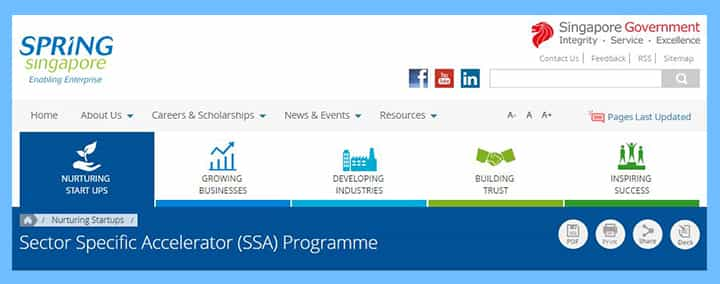 Sector-Specific-Accelerator-SSA-program-for-funding 16 Singapore Start-Up Grants and Schemes