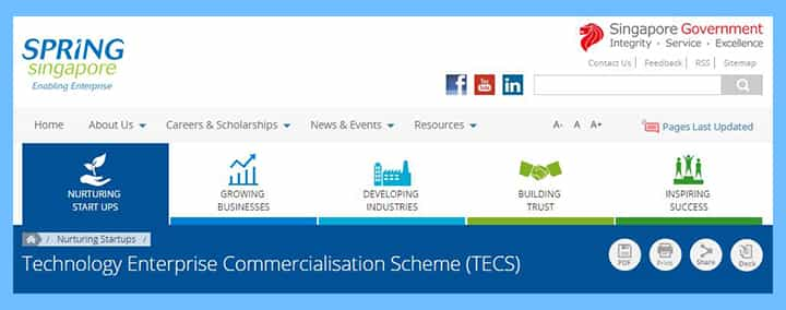 Technology-Enterprise-Commercialisation-Scheme-TECS 16 Singapore Start-Up Grants and Schemes