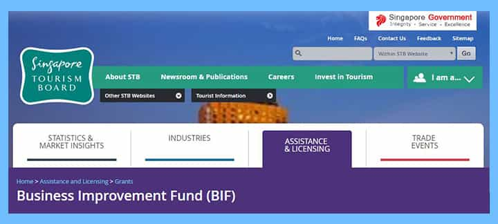 business-improvement-fund-by-tourism-board 16 Singapore Start-Up Grants and Schemes