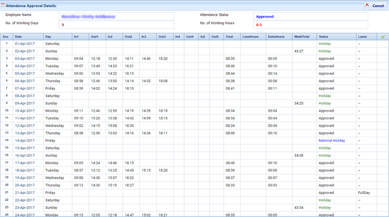 rikvin payroll crm attendance details