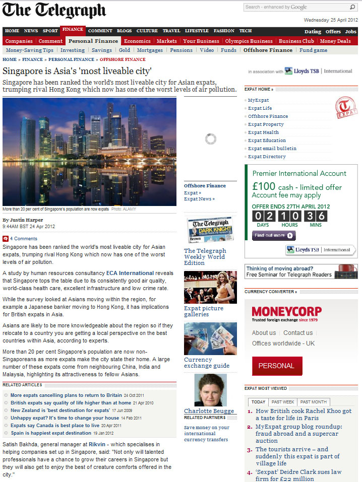 telegraph Singapore is most liveable city in Asia - Rikvin in the Telegraph